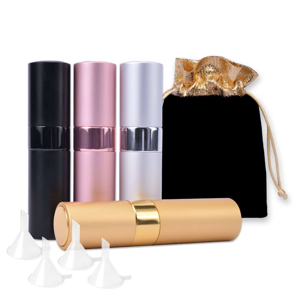 4Pcs Refillable Perfume Bottles with 4 Funnels,8ml Portable Empty Perfume Spray Bottle, Luxsego Mini Twist-Up Perfume Atomizerfor Travel Purse, Handbag or Date(Gift Bag Included)