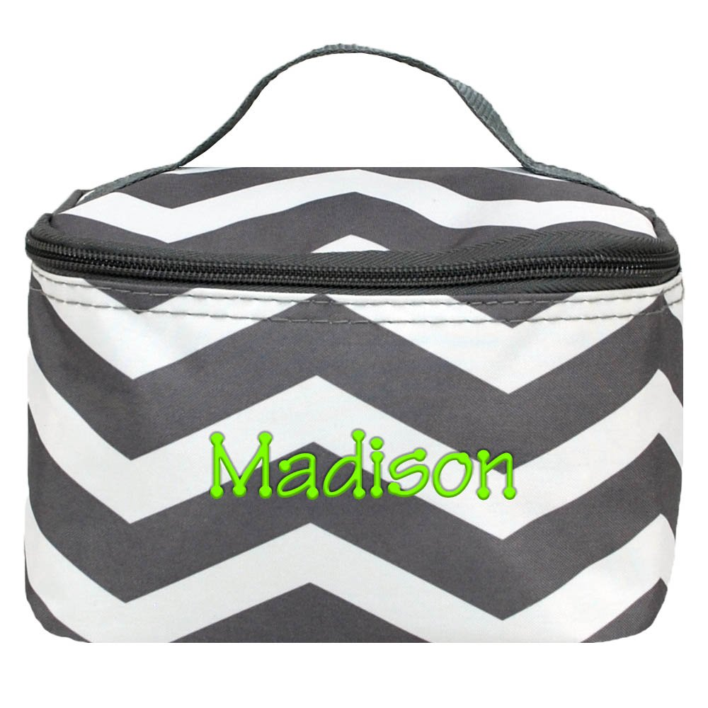 Personalized Gray and White Chevron Cosmetic Bag Makeup Case