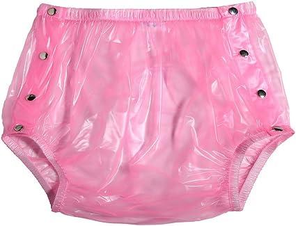 "SIZE XXL 2XL 36/""-42/"" WAIST ADULT BABY PINK SNAP PLASTIC PANTS IN PVC"