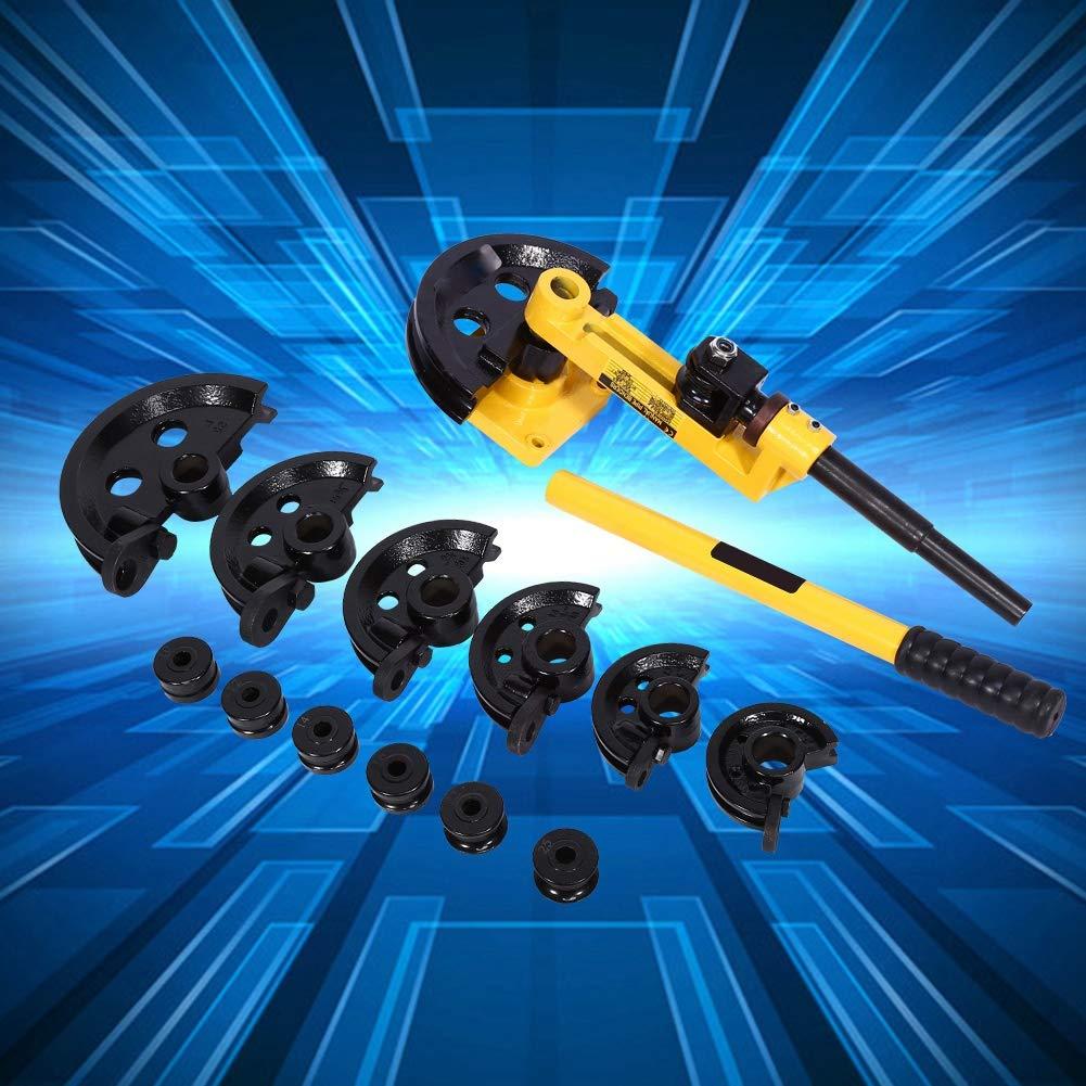 in acciaio al carbonio Piegatura Professionale Curvatubi Idraulica Manuale 3//8inch 1inch 10-25 mm Manual Pipe Bender Hydraulic Con 7 Dies Heavy Duty