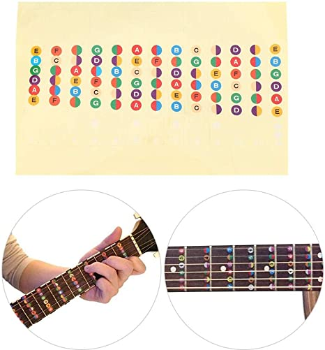 Drfeify Entrenador de Guitarra Código de Color Diapasón Traste ...