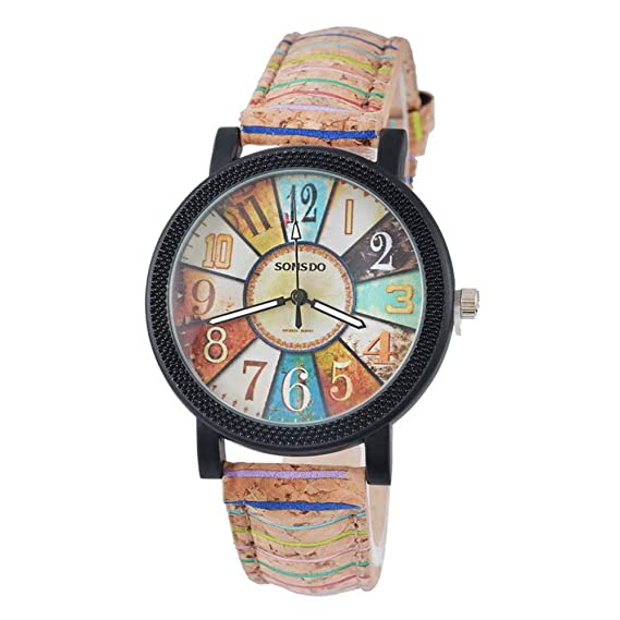 LD Vintage Mujer Reloj Deportivo Reloj de Pulsera Reloj de Cuarzo analógico Banda de Piel café