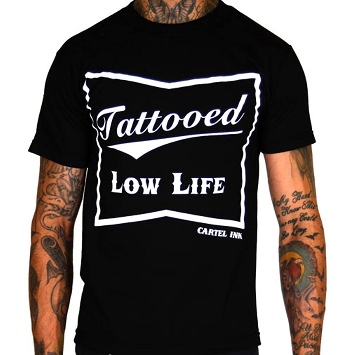 Amazon.com: Mens Cartel Ink Tattooed Low Life T-Shirt Black ...