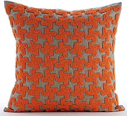 orange and brown cushion covers