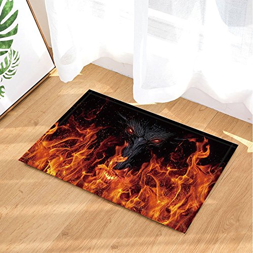 Hellfire Dragon (Dragon Bath Rugs By GoEoo Hell Fire Demon Evil Eye Non-Slip Doormat Floor Entryways Indoor Front Door Mat Bathroom Rugs Memory Foam Kids Bath Mat 15.7x23.23in)