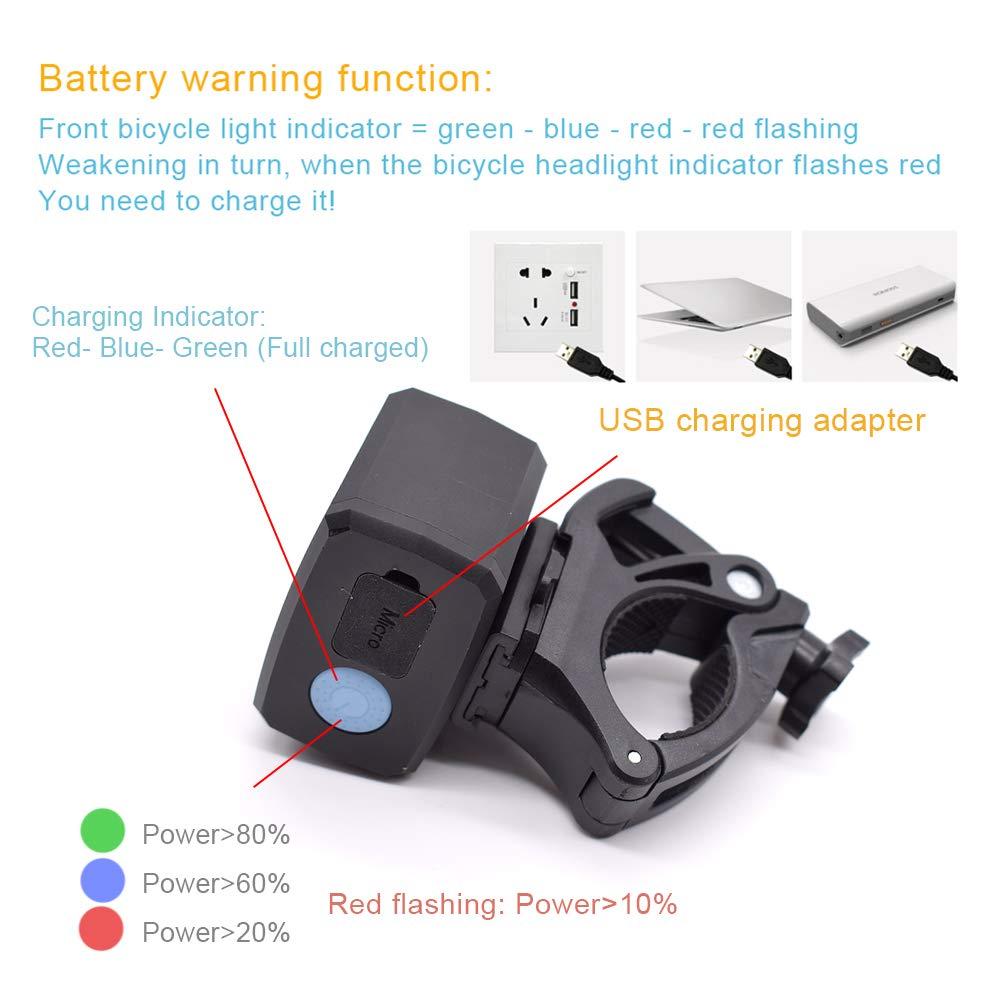 Lumi/ère de bicyclette Lampe Frontale 2 LED CREE pour v/élo de Montagne avec Chargement USB IPX6 /étanche pour Enfants Kampeaburr Femmes et Hommes