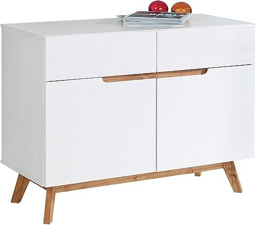 IDIMEX Aparador Tibor Estilo escandinavo diseño Vintage nórdico cómoda Bahut vaisselier 2 Puertas correderas y 2 cajones, Madera de Pino Maciza barnizada Color Blanco: Amazon.es: Hogar