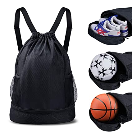 ca95e9e41ee Image Unavailable. Image not available for. Color  SKL Drawstring Bag  Backpack with Ball Shoe Compartment Sport ...
