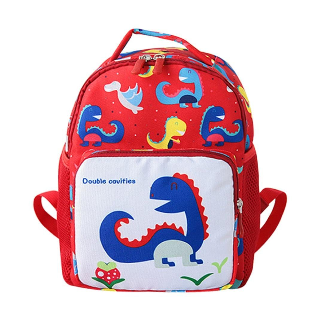 Child Baby Girls Boys Kids Cartoon Dinosaur Animal Backpack Toddler School Bag Preschool Insulated Lunch Box with Safety Harness Leash Cute Multi Colored Zoo Kids