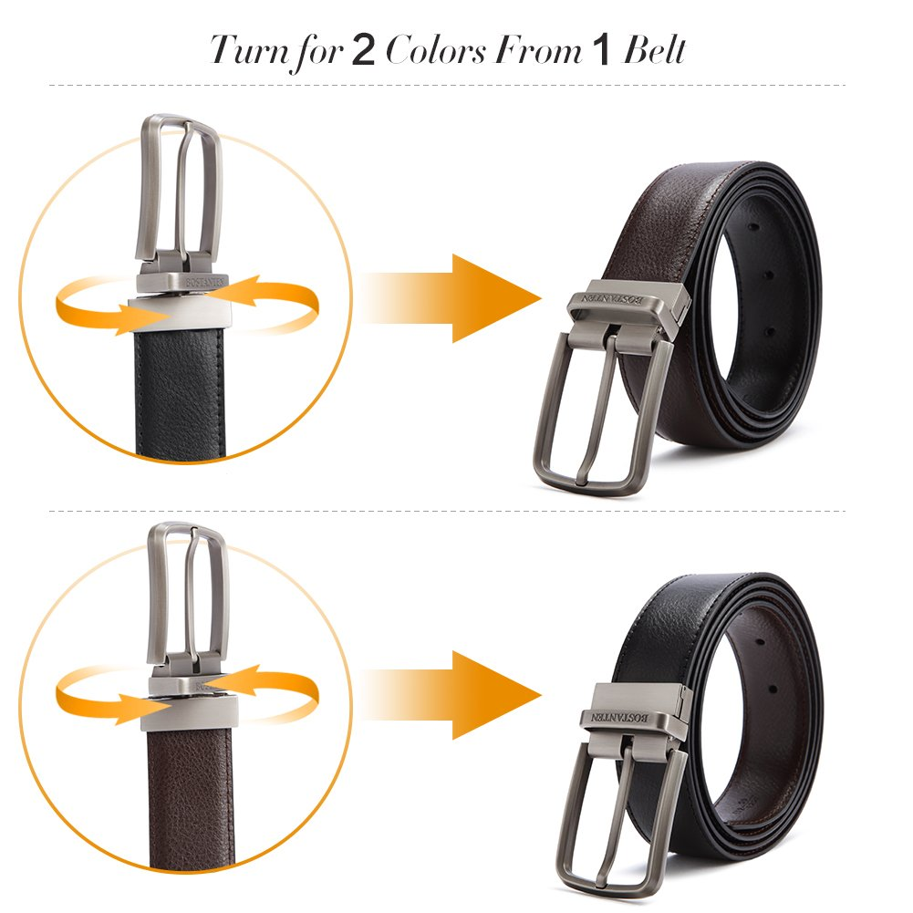 BOSTANTEN Reversible Dress Leather Belts for Men 1 3//8 Wide with Gift Box One Belt Reverse for 2 Colors