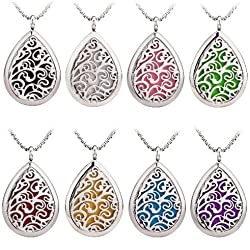 Teardrop Oil Diffuser Necklace Aromatherapy Locket Pendant 316L Stainless steel with 5 pads