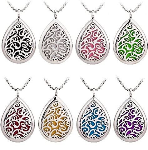 Teardrop Oil Diffuser Necklace Aromatherapy Locket Pendant 316L Stainless steel with 5 pads (Butterfly Pond Kit)