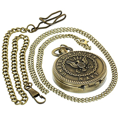 US United States Navy Theme Antique Bronze Pocket Watches Best Gift to Men Women with 1 PC Necklace Chain 1 PC Clip Key Rib Chain Japan Quartz Analog Fob Watches
