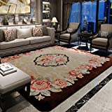 Decorative rugs,Xiandai carpe Living room Bedroom Carpet Tea table [chinese style] Roses Bedside blanket Thicken Non-slip full shop Carpet-A 57x79inch(145x200cm)