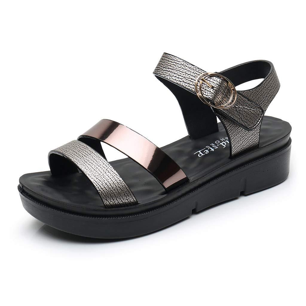 b5f9c54e3 Women Ladies Summer Fashion Leather Sandals Wedges Comfort Big Size Shoes  2019 Summer Beach Platform Wedge High Heel Sandals Slippers for Girls Women  Ladies