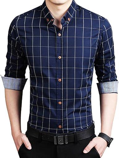 Sidiou Group Camisas Casual Hombre Manga Larga Slim Fit ...