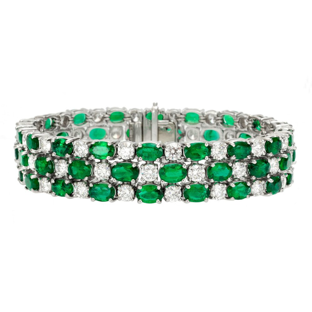FancyTriple Row Created Emerald and CZ Diamond Halo Bracelet in 18k White Gold Plating