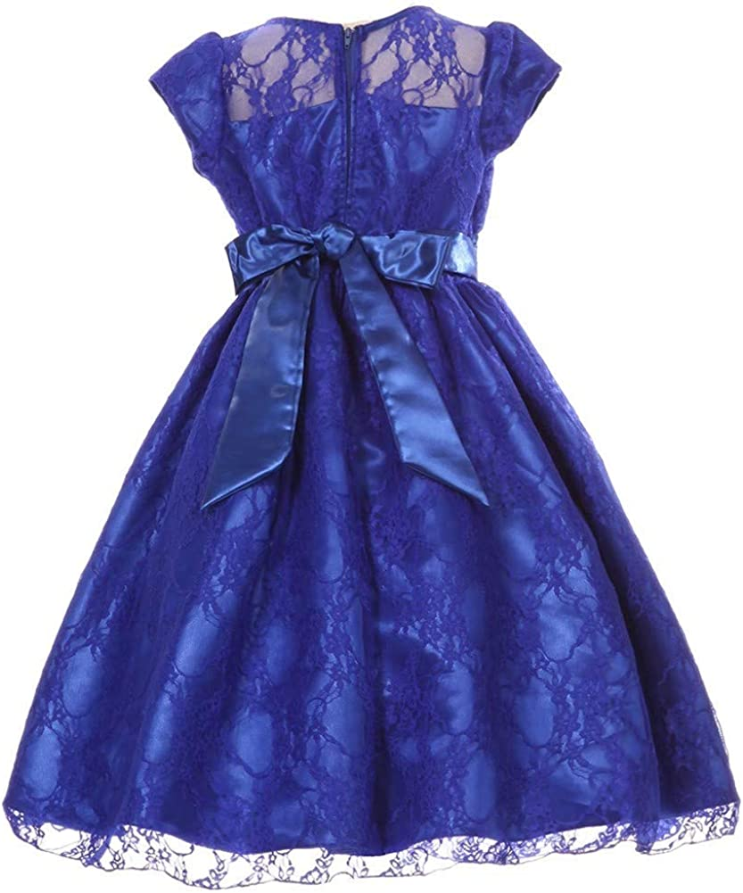 Little Girls Royal Blue Flower Sash Lace Overlay Special Occasion Dress