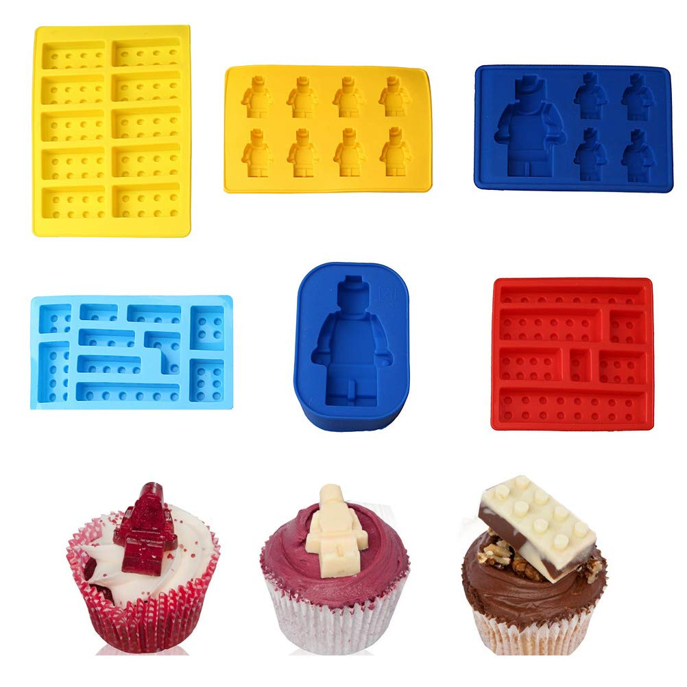 Candy Chocolate Moulds Jelly Mould for Kids Partys and Baking Minifigure Building Block Themes pengxiaomei 7Pcs Silicone Moulds Robot Ice Cube Tray