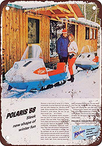 WallDector 1968 Polaris Snowmobiles Iron Poster Painting Tin Sign Vintage Wall Decor for Cafe Bar Pub Home Beer Decoration -