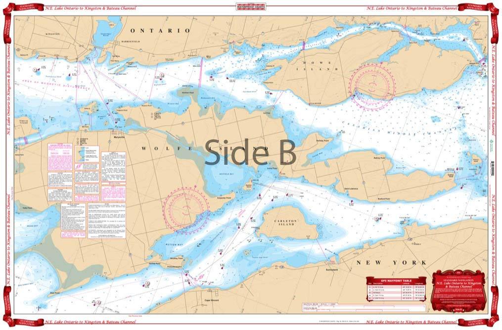 Standard Navigation Waterproof Charts Lake Ontario Kingston /& Bateau Channel 141 N.E