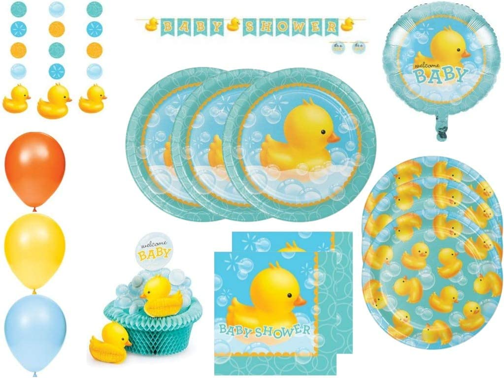 Bubble Bath Rubber Duck Ultimate Baby Shower Party Supplies Kit For 32 Guests
