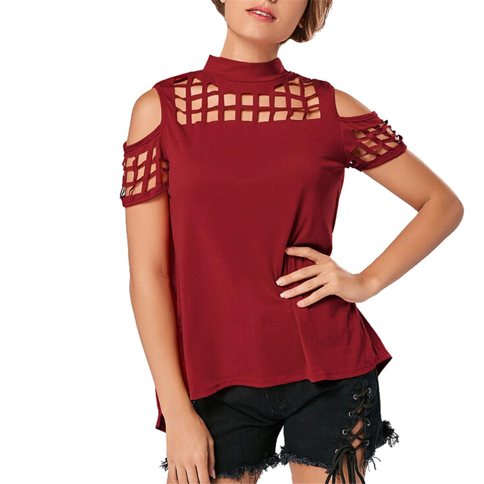 Womens Tops,wodceeke Casual Summer T-Shirt Cold Shoulder Hollow Out Tees Short Sleeve Slit Tunic Tops Blouse (Red,S)