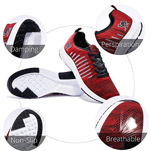 Camel Hommes Chaussures de Course Respirant Maille Léger Sport Sneakers Sport Antichoc Chaussures De Marche De Mode Rouge 4kqFSPE1n