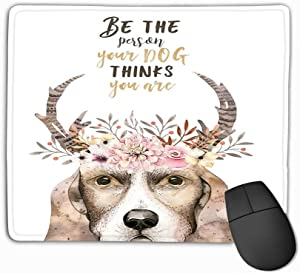 Gaming Mouse Pad Oblong Shaped Mouse Mat 11.81 X 9.84 Inch Watercolor Closeup Portrait Cute Dog Isolated White Background Hand Drawn Sweet Home pet Greeting Card Animal nursary Lovely