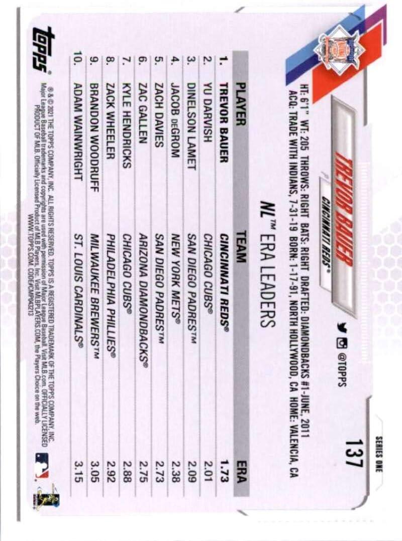 2021 Topps #137 Trevor Bauer NM-MT Cincinnati Reds Baseball