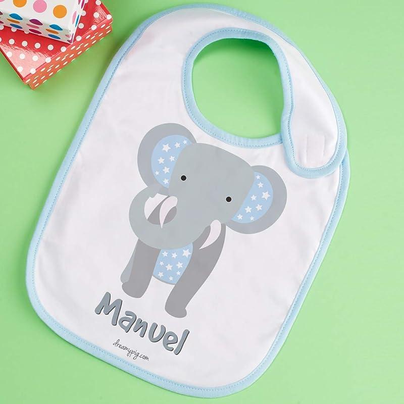 Babero de Elefante personalizado con el nombre del peque: Amazon ...