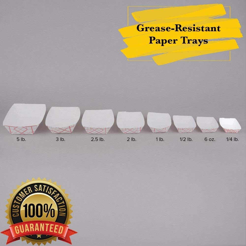 MM Foodservice Disposable Paper Food Tray, Grease- Resistant Fast Food Trays (100, 5 Lb - 9 1/4'' x 6 1/2'')