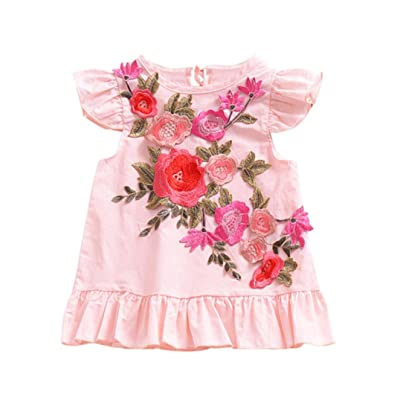 Freshzone Toddler Baby Girl Hem Ruched Stereoscopic Floral Skirt Dress Clothes