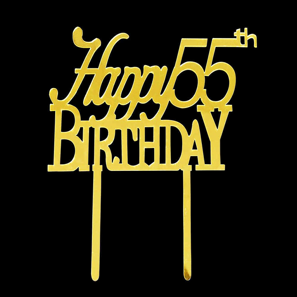 Happy 55th Birthday Cake Topper Acrylic Gold Mirror For Anniversary Party Decorations Supplies