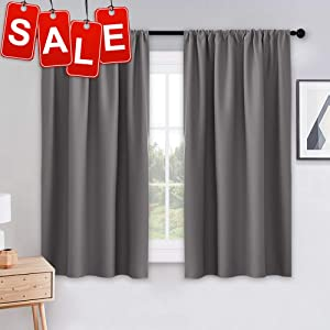 PONY DANCE Grey Blackout Curtains - Rod Pocket Drapes Thermal Insulated Panels Home Décor Window Treatments Draperies for Bedroom, 42 inch Wide by 45 inch Long, Grey, Sold as 1 Pair