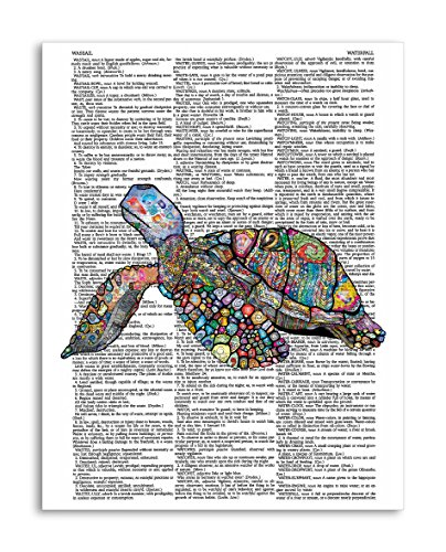 """Jeweled Sea Turtle - Jewelled Sea Turtle 8.5""""x11"""" Home Wall Decor Dictionary Art Print – Mixed Media Poster Printed on Semi-Translucent Paper"""