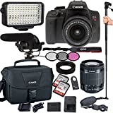 Canon EOS Rebel T6i 24.2 MP Digital SLR Camera with EF-S 18-55mm IS STM Lens , Filters, Lens Hood, Monopod, 128GB Memory, Led Video Light, Microphone, Canon Case, Extra Charger