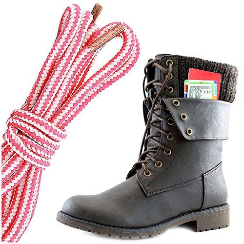 Dailyshoes Vrouwen Militaire Lace Up Gesp Combat Laarzen Enkel Middenkalf Fold-down Exclusieve Creditcard Zak, Roze Wit Bruin Pu