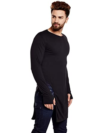 4250ed9389da8 Chill Winston Black Color Long Sleeve Longline Cotton Thumb Insert T-Shirt  for Men