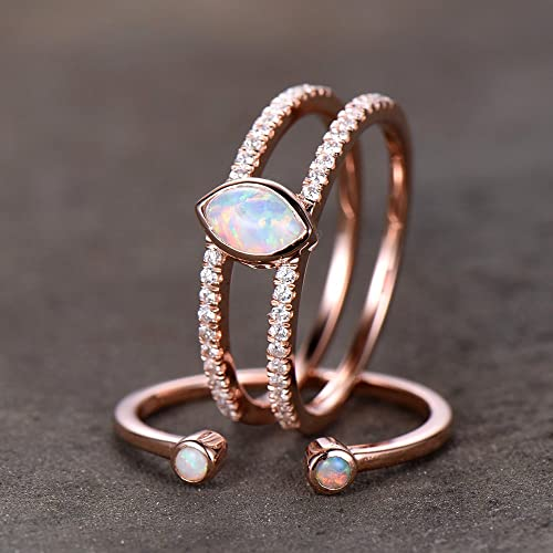 Amazon Com Opal Wedding Ring Set Opal Ring Split Shank Engagement Ring Rose Gold Plated Unique Opal Wedding Band Bezel Set Handmade
