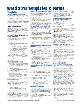microsoft word 2013 templates forms quick reference guide cheat sheet of instructions tips shortcuts laminated card beezix inc 9781936220847