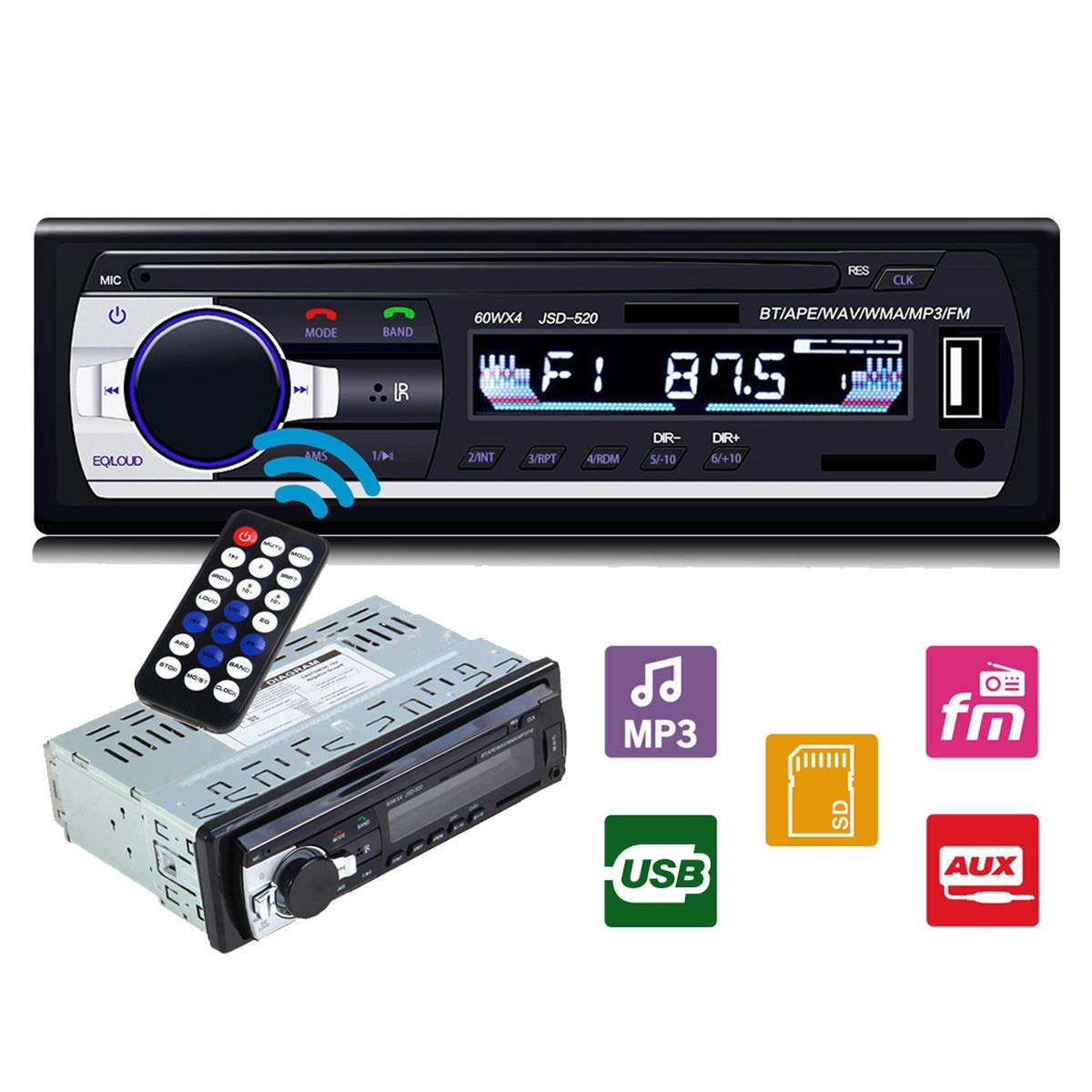 Ezonetronics Single Din Car FM Stereo Radio with MP3/WMA Playback Support SD/USB/AUX in/Remote Control LC046