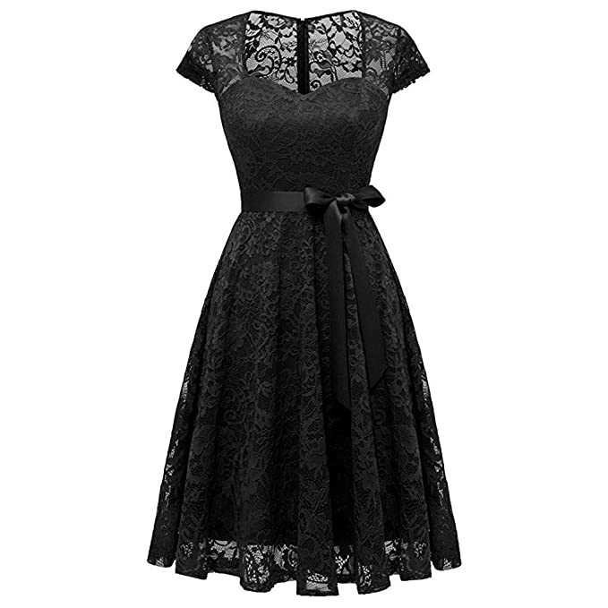 1f80360c99 Cewtolkar Women's Retro Vintage Dress Sweetheart Lace Wedding Party Dress  Elegant Formal Evening Party Dress Black