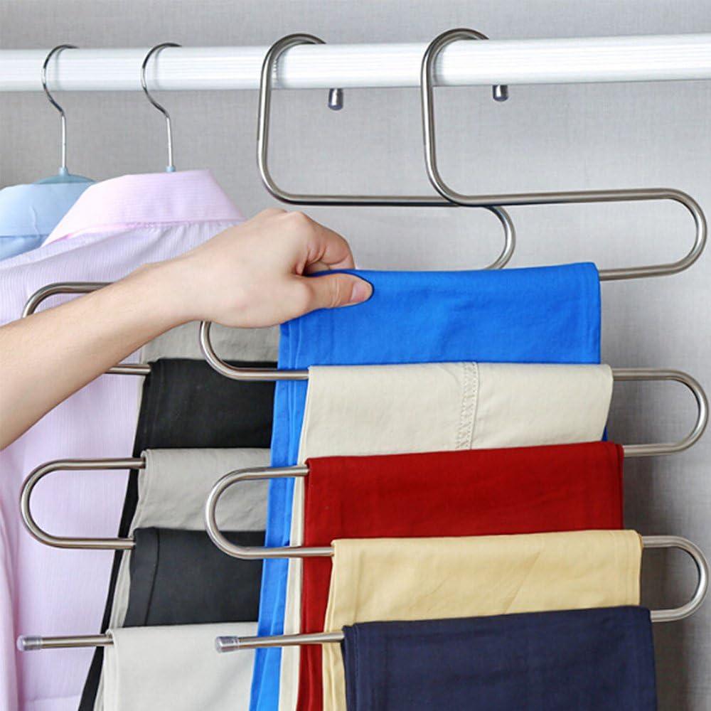 N//F Hosenb/ügel S-Type Platzsparend 1Stk Kleiderb/ügel Edelstahl 5 Schichten Mehrfach-Kleiderb/ügel f/ür Hosen Jeans Schals Handt/ücher