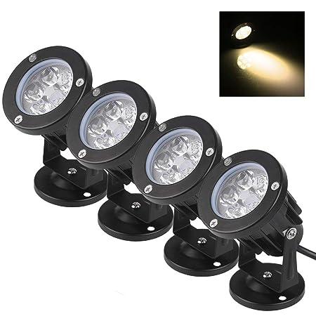 set da 4 Faretti a LED da Giardino Esterno IP65 5W 220V Bianco Caldo
