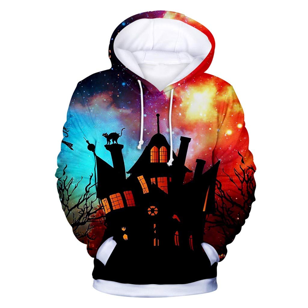 Funnygals - Unisex 3D Print Hoodies for Men Women, Halloween Pumpkin Print Pullover Jumpers Graphic Sweatshirt XXS-XXXXL by Funnygals - Clothing