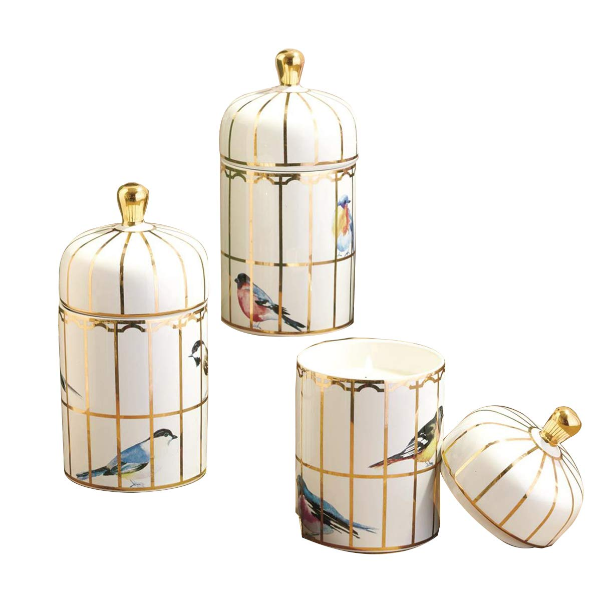 Two's Company Gilded Cage Filled Candle with Lemon Verbena Scented Wax Set of 3