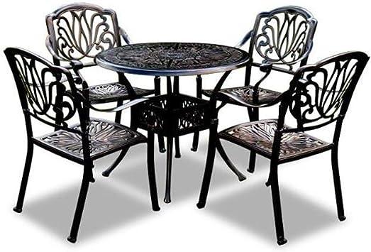 smzzz Conjunto Muebles Terraza 4 Sillas 1 Mesa Ideal para Jardín Exterior Interior: Amazon.es: Deportes y aire libre