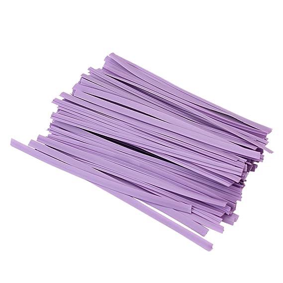 100X Sellado Ataduras Alambre Twist Ties para Piruletas Bolsas Color Lavanda