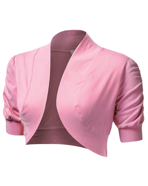 Azkara Women's Shrug Short Sleeve Cropped Bolero Cardigan Junior ...